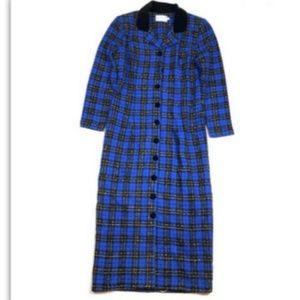Misty Lane 80s Vintage Dress Plaid Long 12 Blue